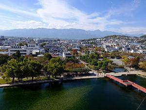 松本城から見た北アルプス