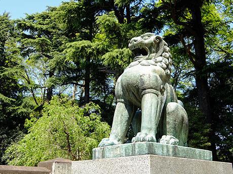 岩�ア家霊廟の狛犬